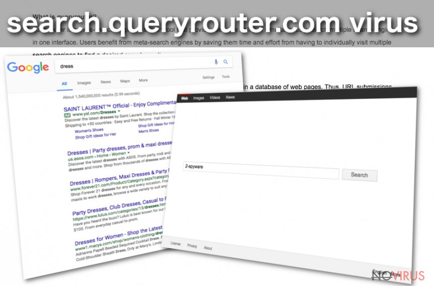 Search.queryrouter.com redirect screenshot