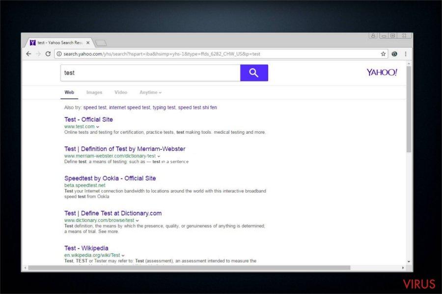 search.yahoo.com redirect screenshot