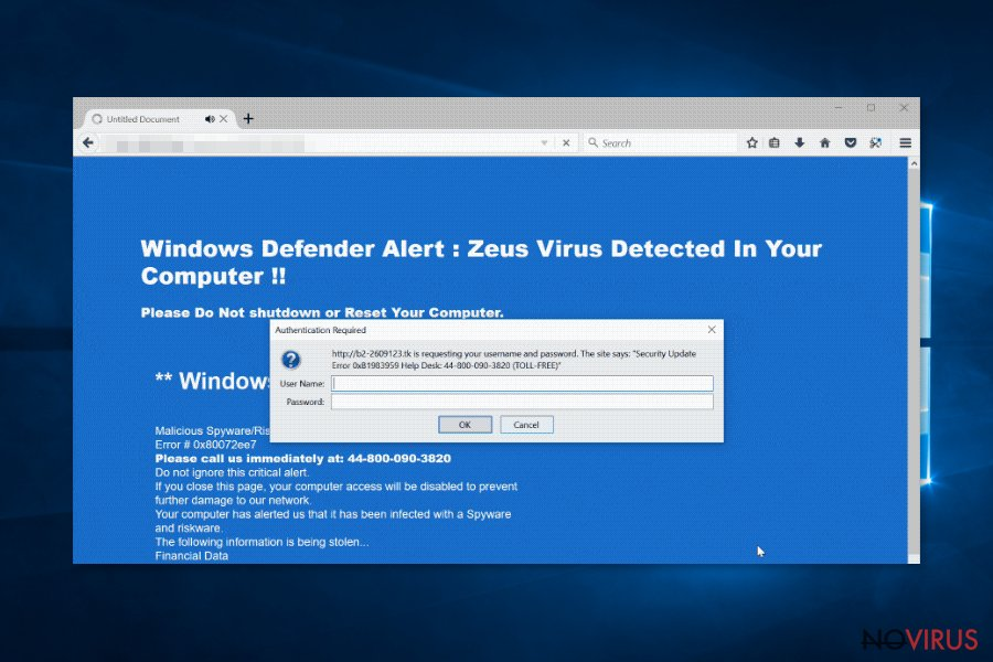 Windows Defender Zeus virus detected