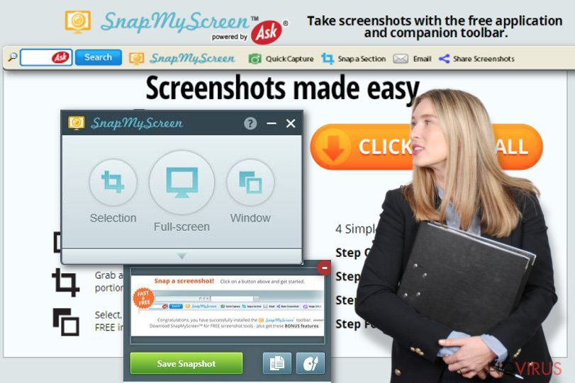 The illustration of SnapMyScreen virus