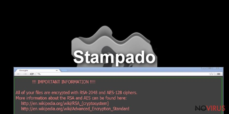 The alert of Stampado ransomware virus