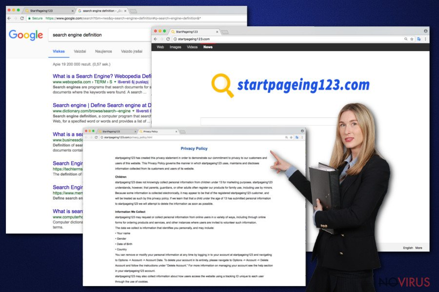 The image of StartPageing123 virus