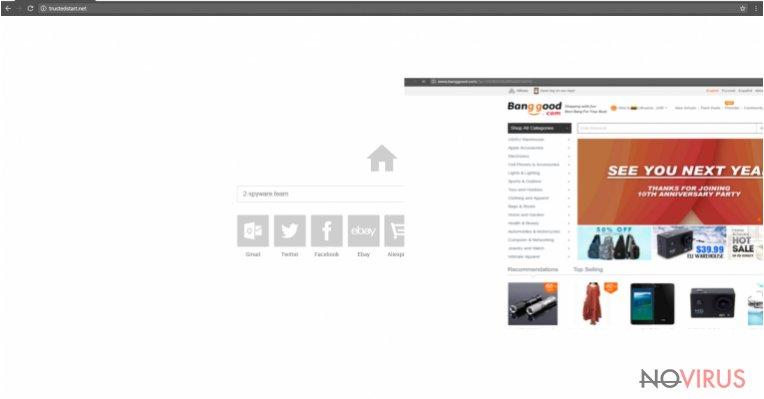 The example of Trustedstart.net browser hijacker