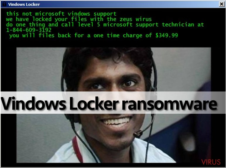 The example of Vindows Locker ransomware virus