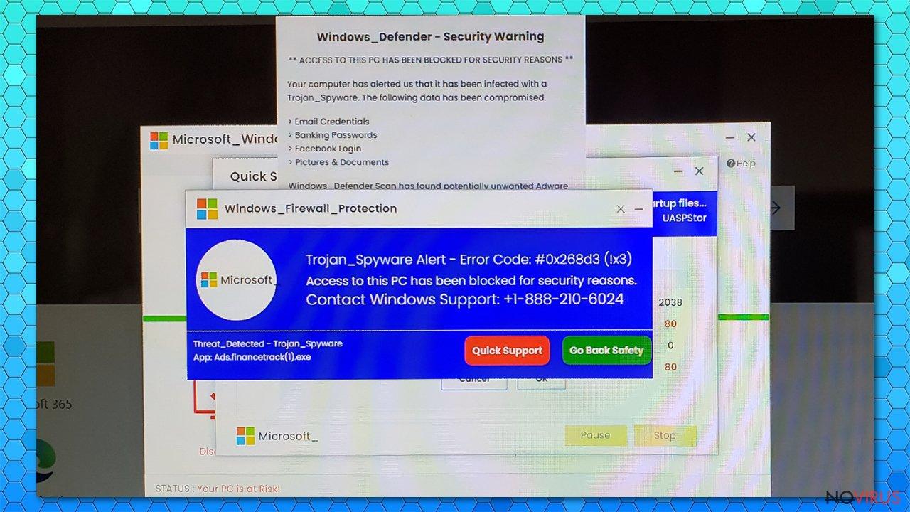 Trojan_Spyware Alert - Error Code #0x268d3 (!x3) fake alert