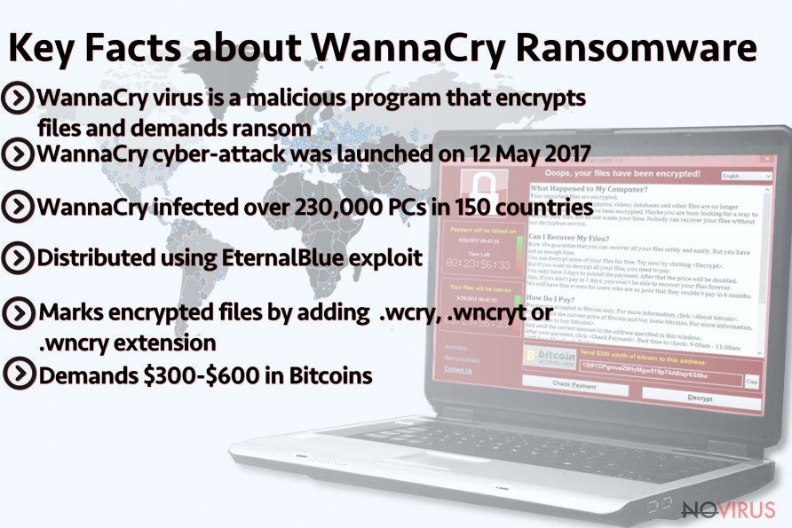 The summary of key WanaCry ransomware-trojan features