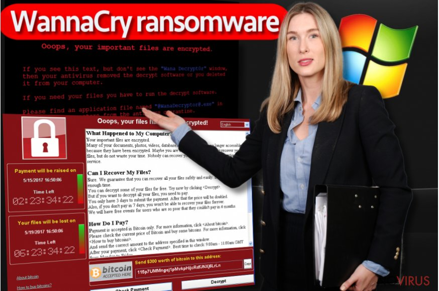 The image displaying WannaCry GUI