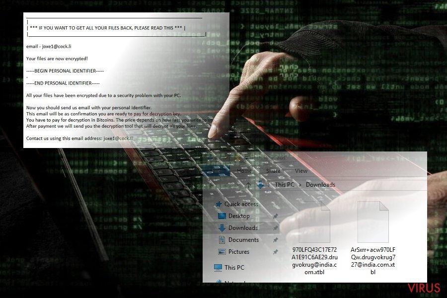 .xtbl virus screenshot