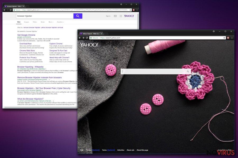Yahoo Redirect virus screenshot