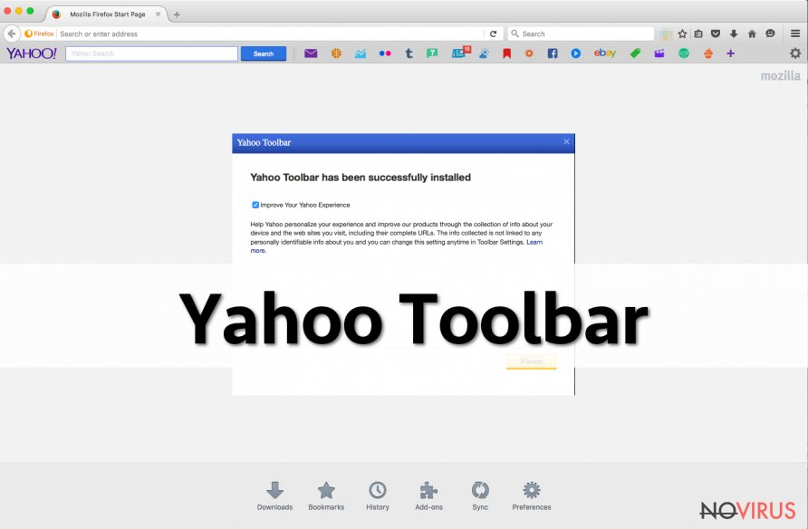 Yahoo Toolbar and New Tab screenshot
