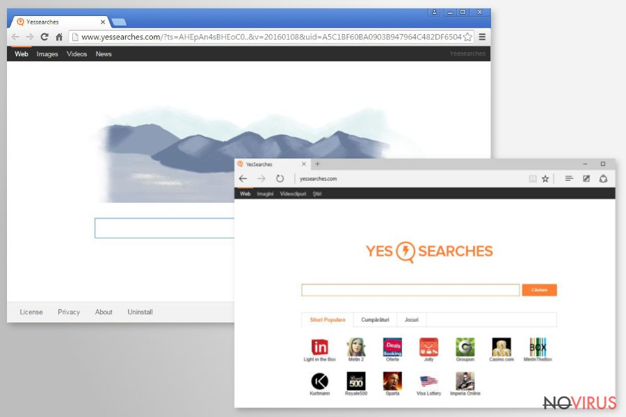 YesSearches.com redirect screenshot
