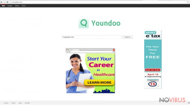 The image displaying youndoo.com virus