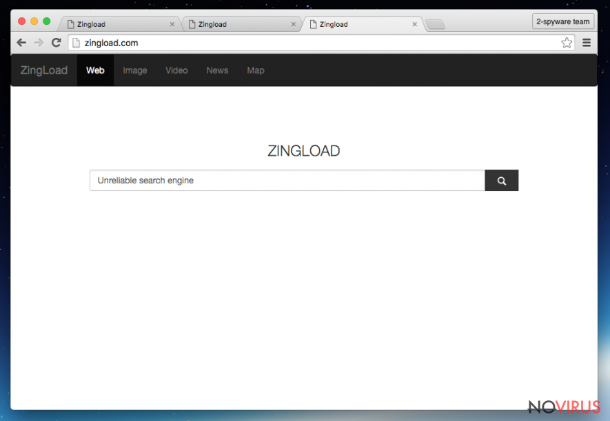 The illustration of Zingload.com virus